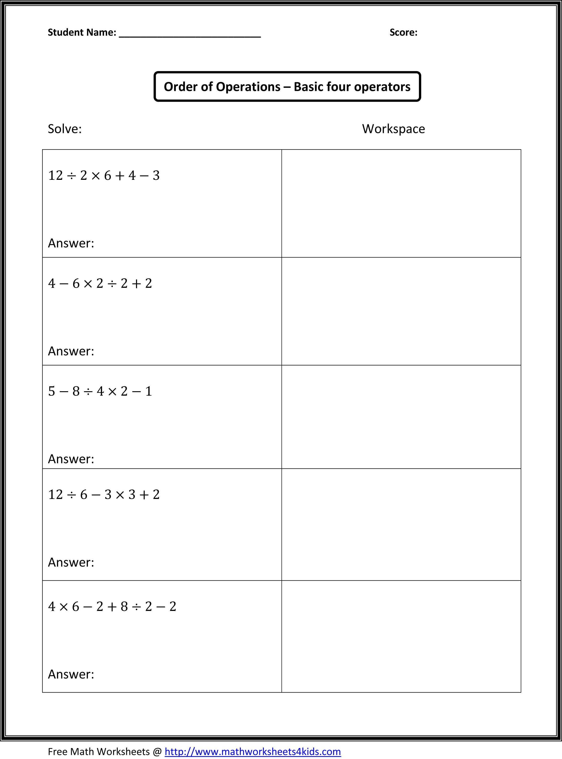 Order Of Operations | Math Worksheets | 4Th Grade Math Worksheets | Algebra Worksheets For 4Th Grade Printable