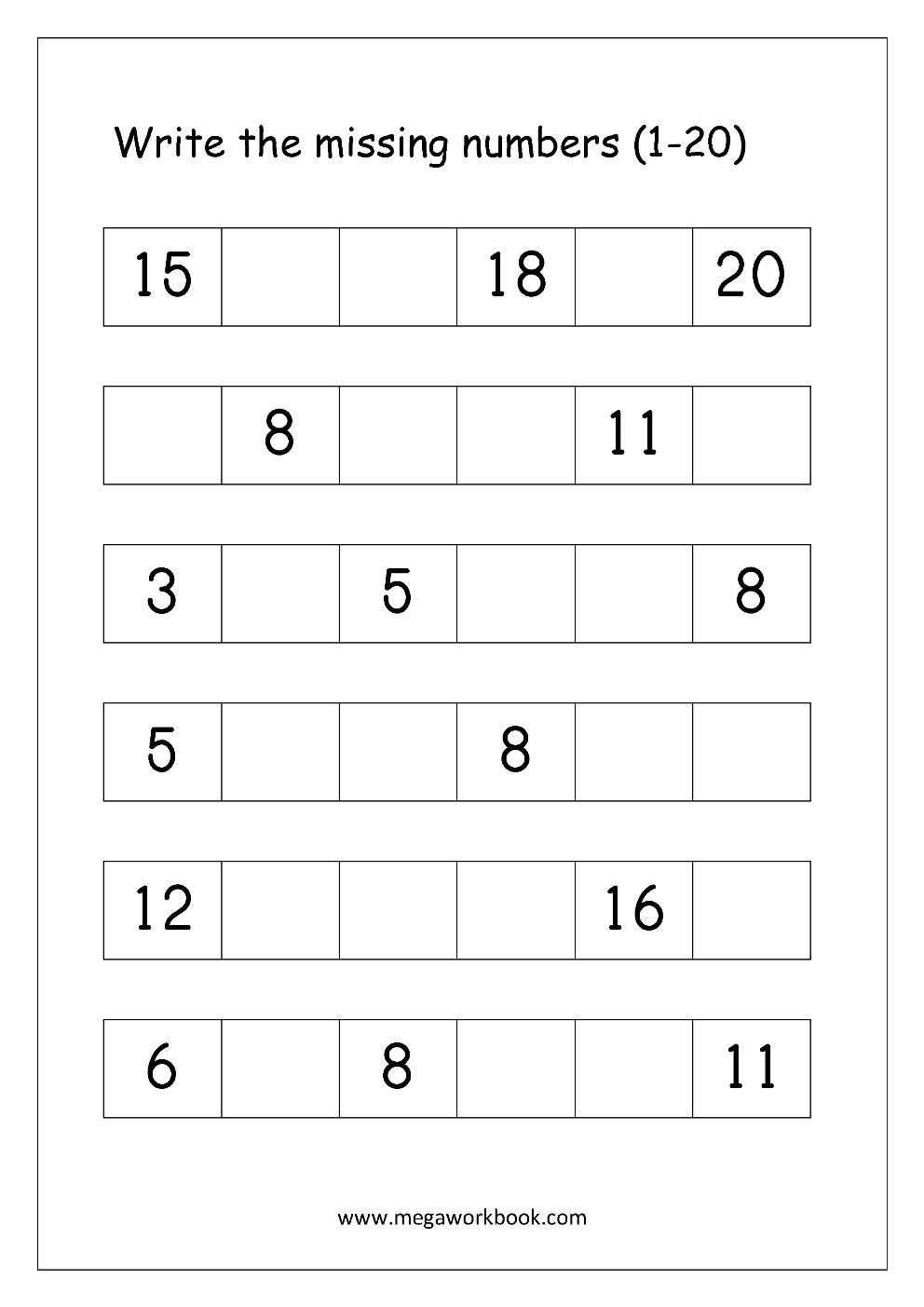 Ordering Numbers Worksheets, Missing Numbers, What Comes Before And | Free Printable Tracing Numbers 1 20 Worksheets