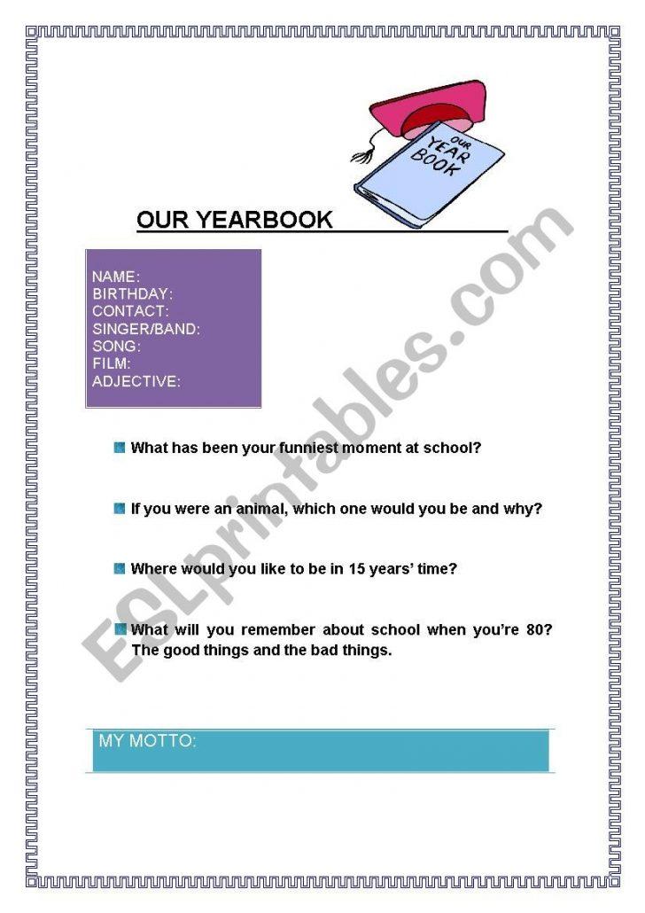 Yearbook Printable Worksheets