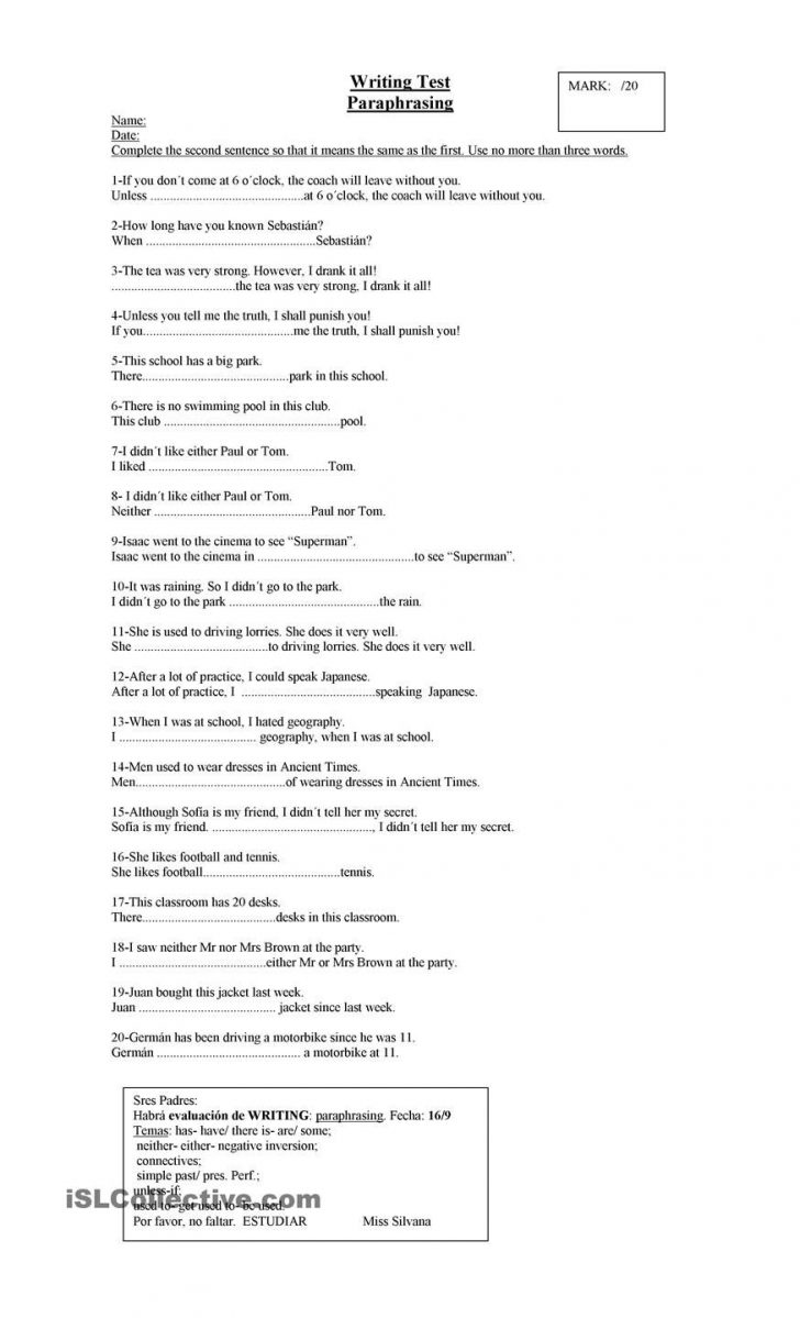 Printable Paraphrase Practice Worksheet