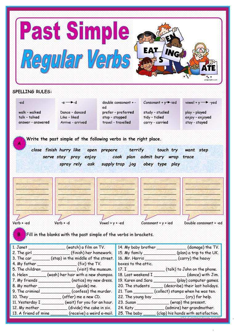 Past Simple Of Regular Verbs Worksheet - Free Esl Printable | Past Simple Printable Worksheets