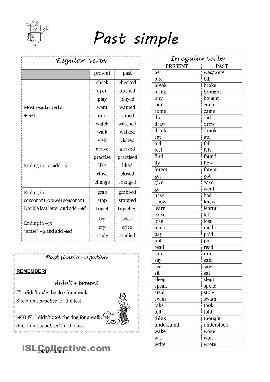 Past Simple: Regular And Irregular Verbs | Esl Worksheets Of The Day | Free Printable Irregular Verb Worksheets