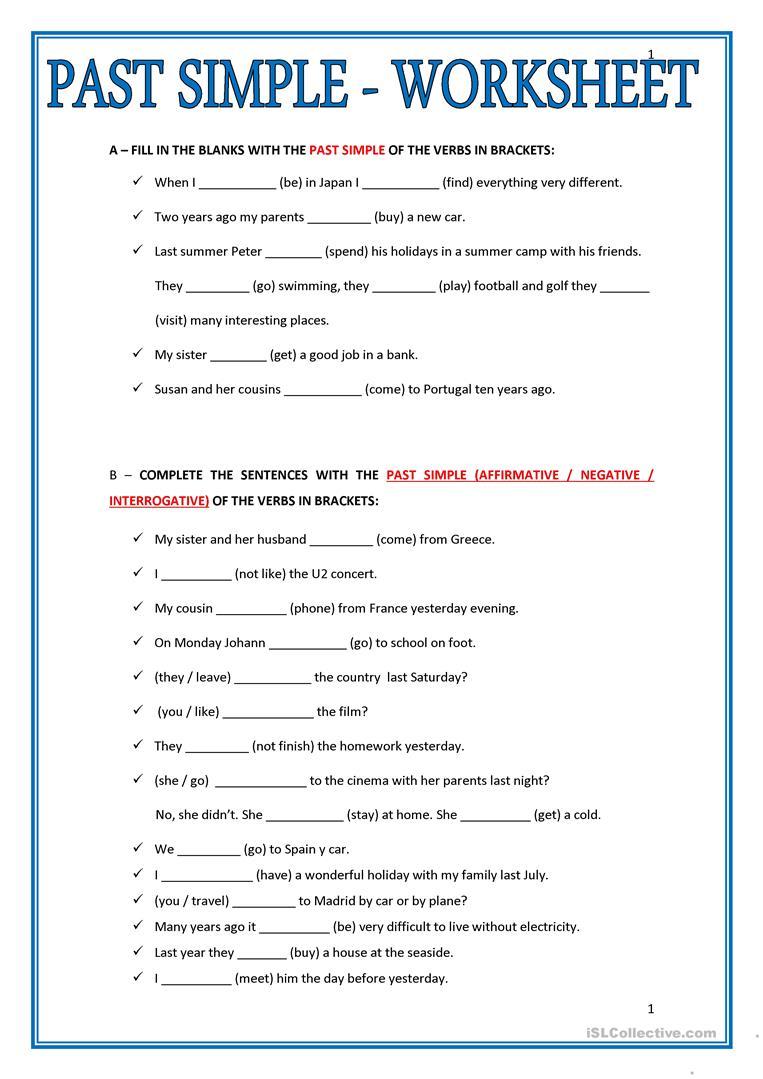 Past Simple - Worksheet Worksheet - Free Esl Printable Worksheets | Past Simple Printable Worksheets