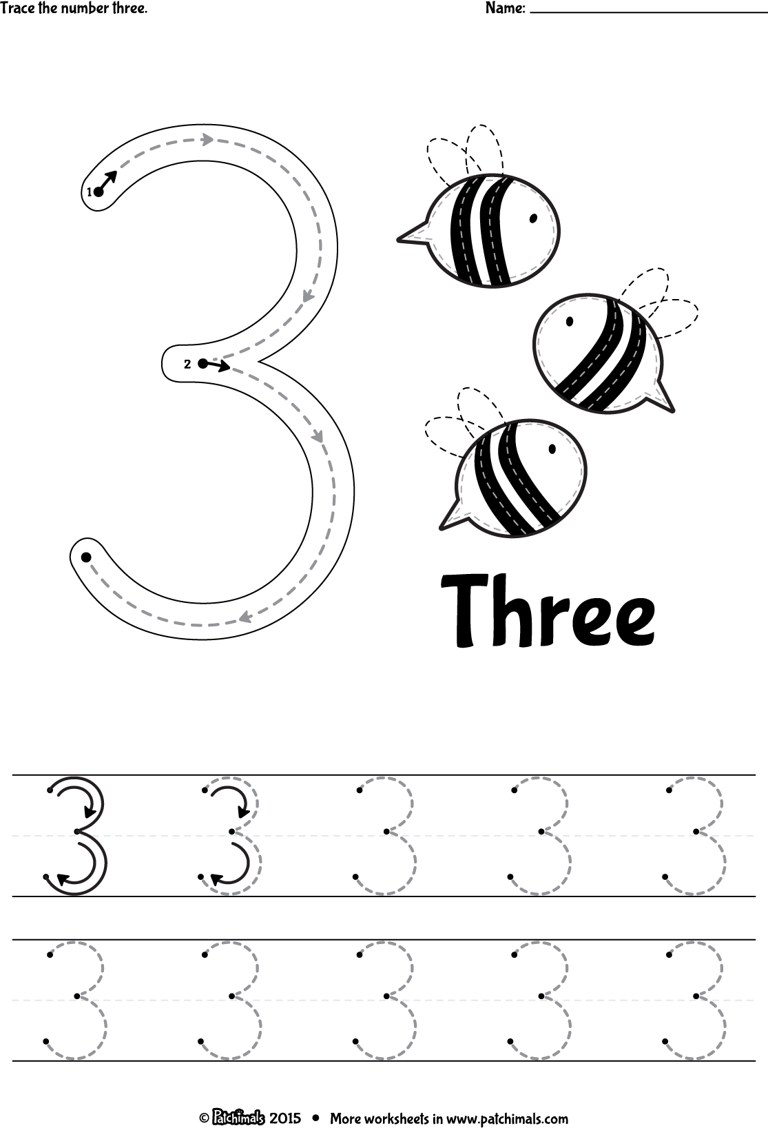 Patchimals - Educational And Cultural Contents For Children: Apps | Free Printable Number 3 Worksheets