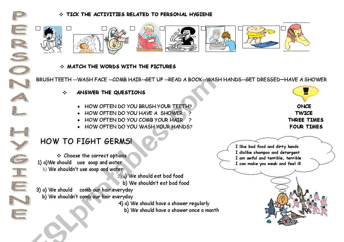 Personal Hygiene And How To Fight With Germs - Esl Worksheetmlml | Germs Worksheets Printables