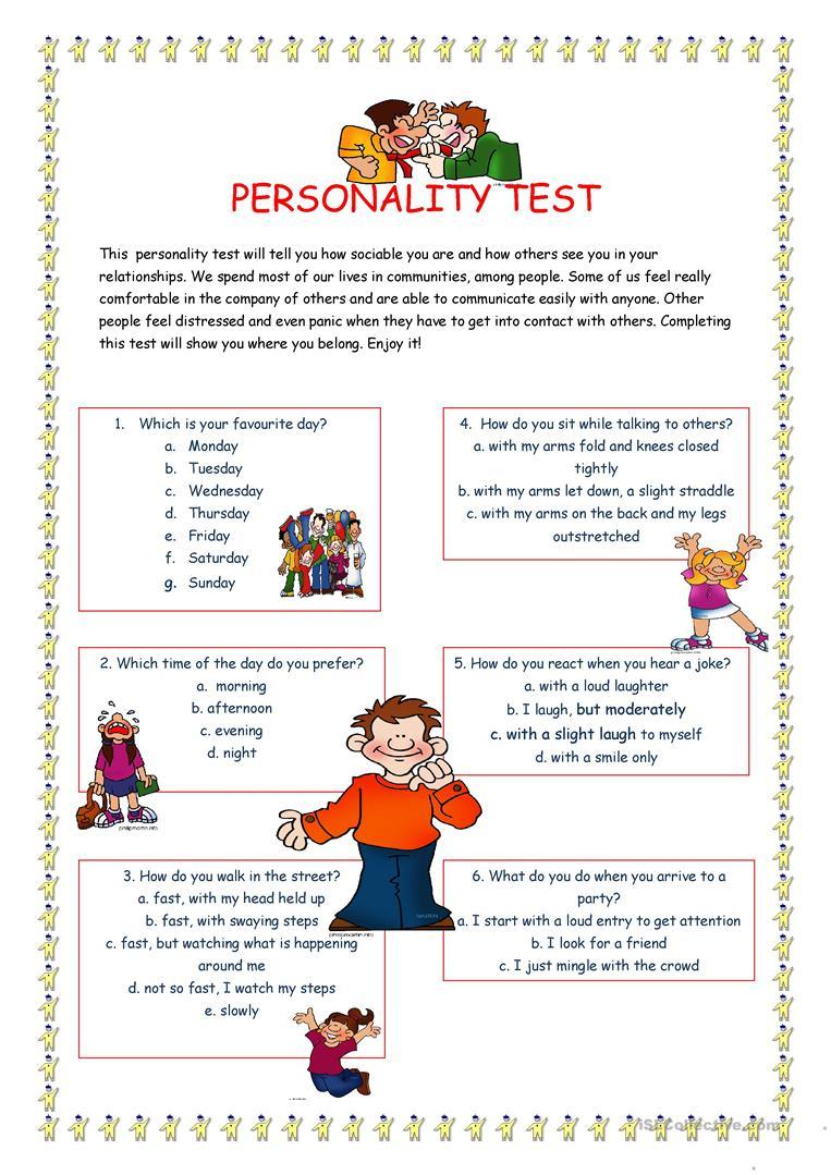 Personality Test I. Worksheet - Free Esl Printable Worksheets Made | Personality Quiz Printable Worksheet