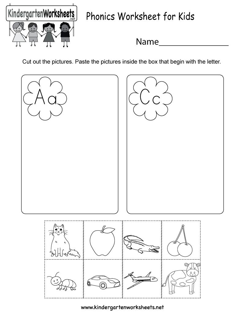 Phonics Worksheet For Kids - Free Kindergarten English Worksheet For | Kindergarten Worksheets Free Printables Phonics