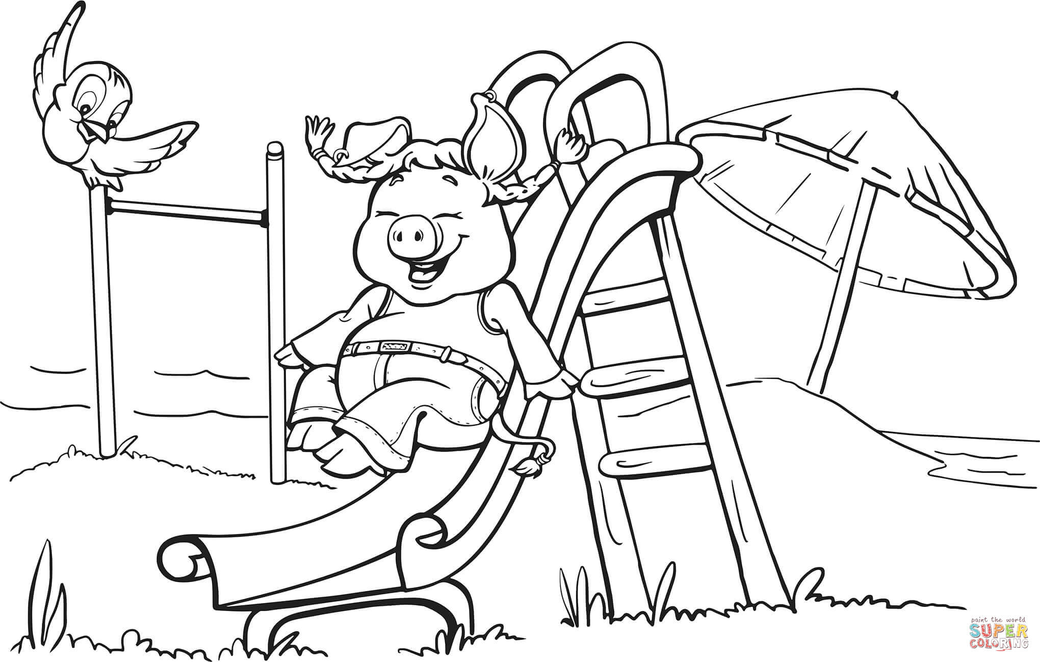 Pig On The Playground Slide Coloring Page | Free Printable Coloring | Free Printable Playground Coloring Worksheets