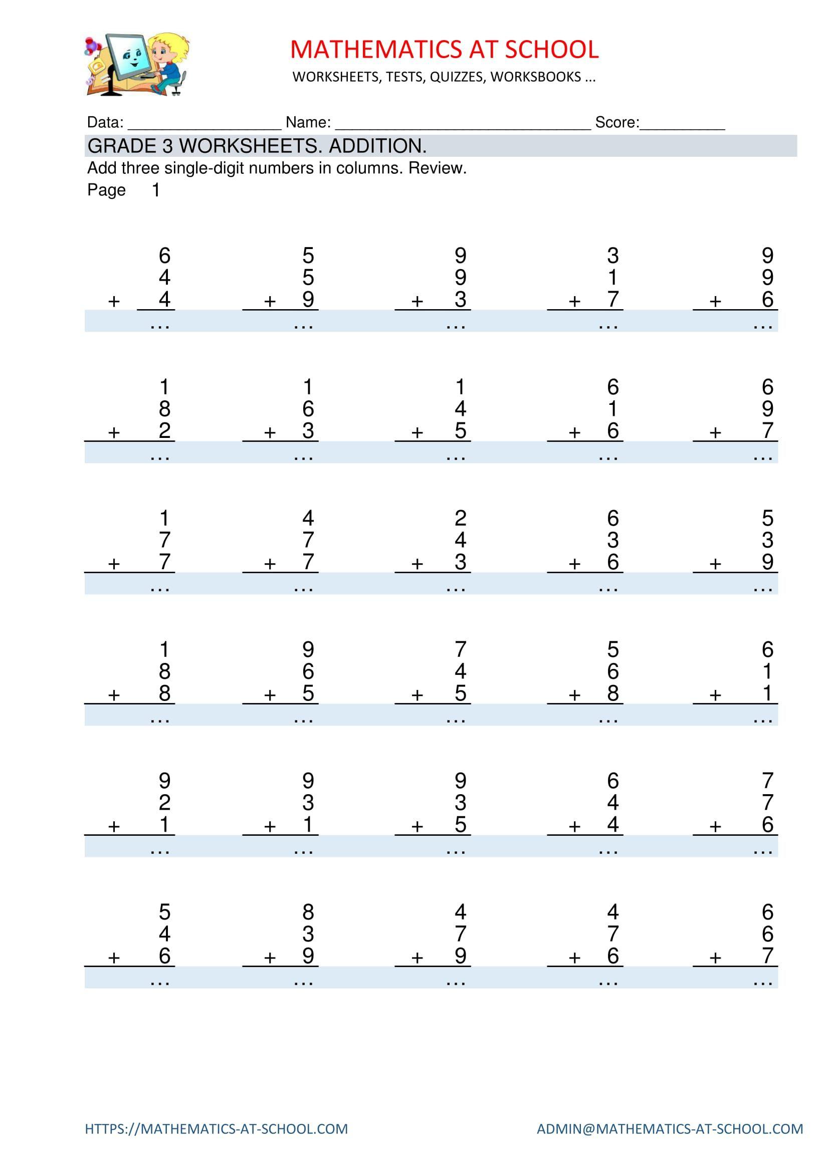 Pinmathematics School On Grade 3 Maths Worksheets And Free | Grade 3 Maths Worksheets Printable