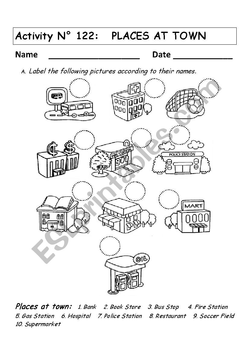 Places At Town - Esl Worksheetandresdomingo | Places In Town Worksheets Printables