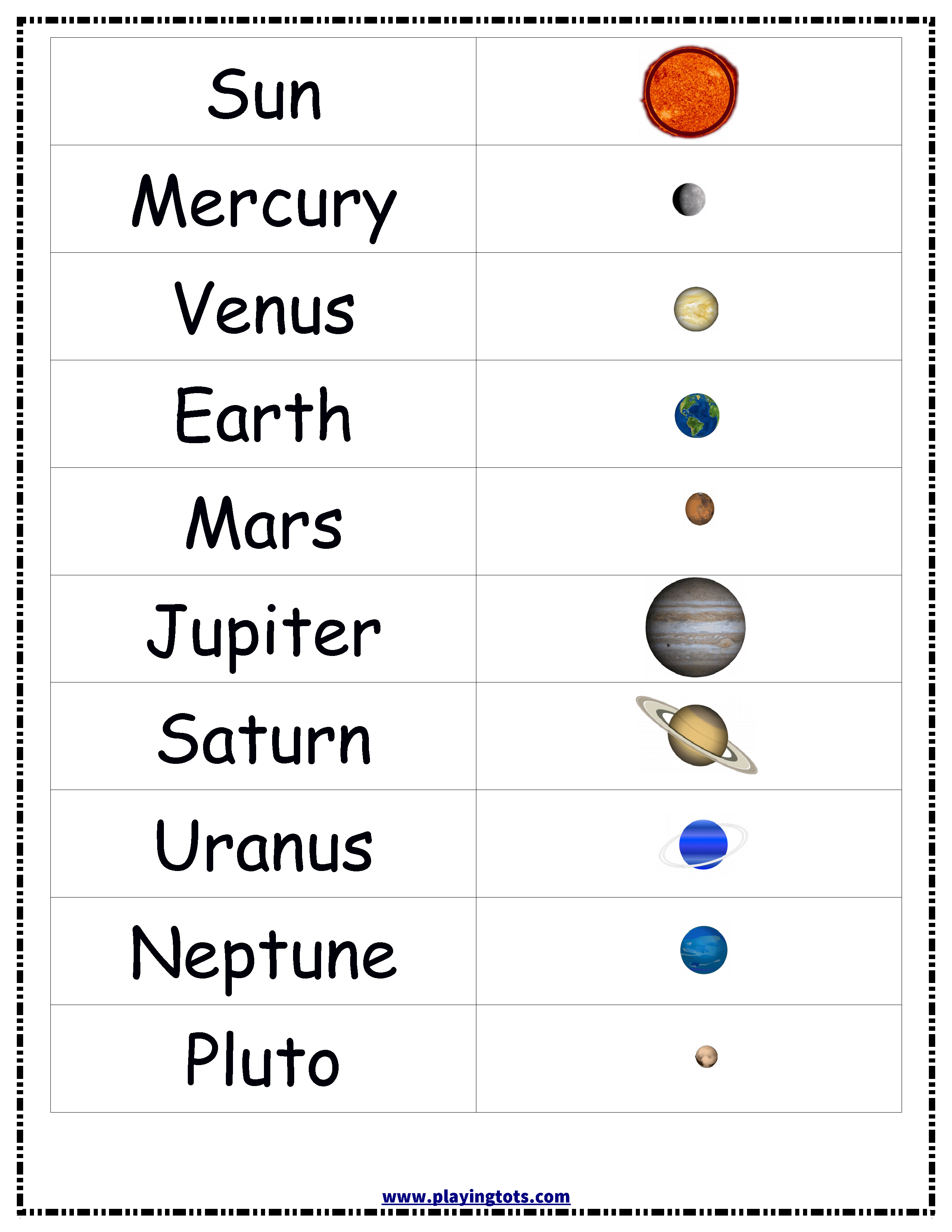 Planets,solar,system,sun,earth,chart,free,printable,toddler | Free Printable Space Worksheets
