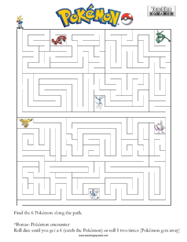 Pokemon Maze A   Teaching Squared In 2019   Pokemon Birthday   Pokemon Worksheets Printable