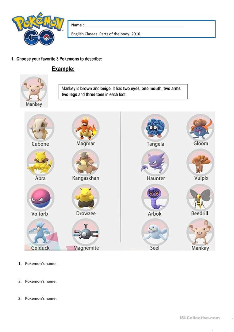 Pokémon Parts Of The Body Worksheet - Free Esl Printable Worksheets   Pokemon Worksheets Printable