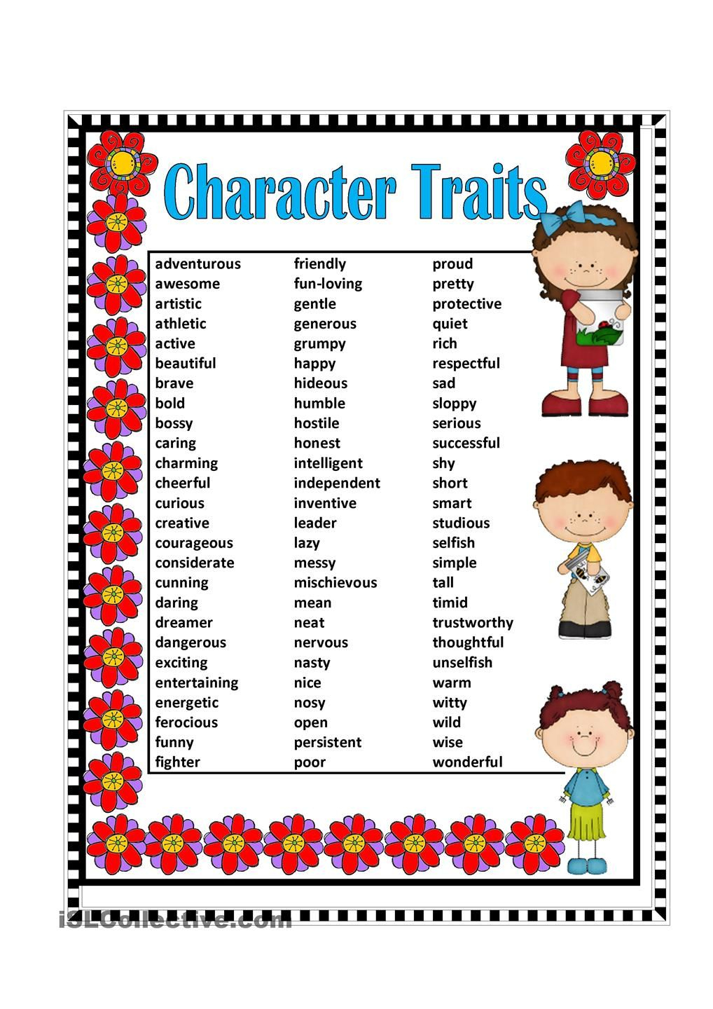Posters Character Traits Adjectives - Google Search | Poster | Printable Character Traits Worksheets