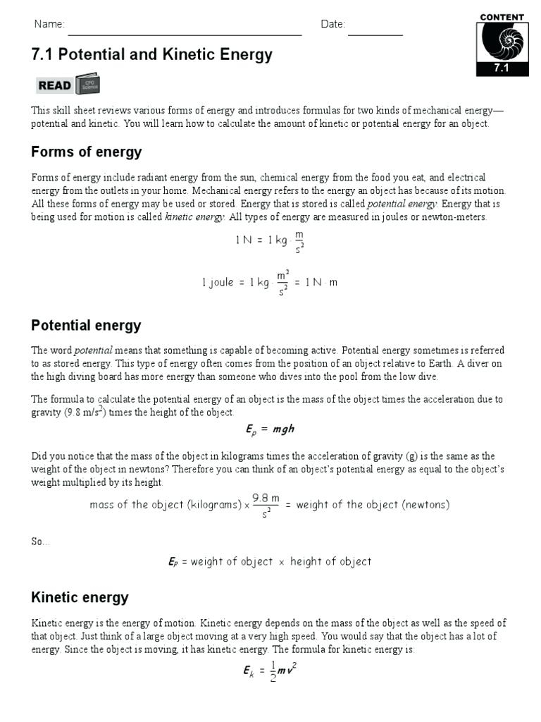 Potential Vs Kinetic Energy Worksheet Worksheets - Classy World | Free Printable Worksheets On Potential And Kinetic Energy