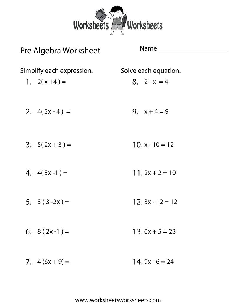 Pre-Algebra Review Worksheet - Free Printable Educational Worksheet | Free Printable Math Worksheets Pre Algebra