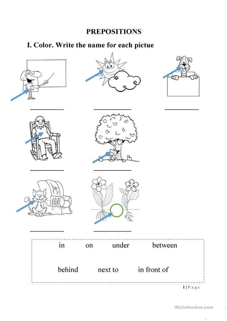 Free Printable Preposition Worksheets For Kindergarten