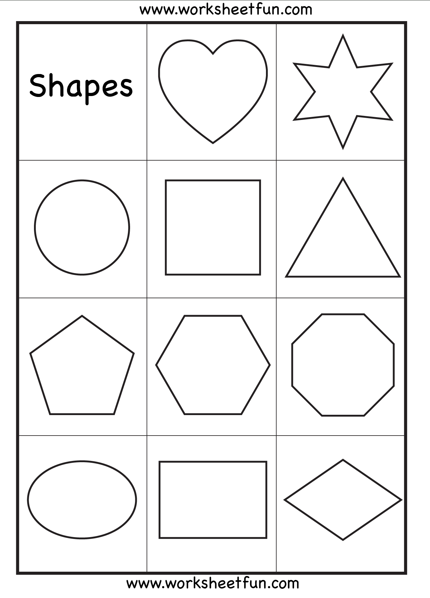 Preschool Shapes, Upper Case Letters, And Lower Case Letters | Printable Shapes Worksheets