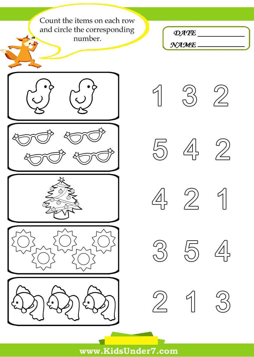 Preschool Worksheets | Kids Under 7: Preschool Counting Printables | Counting Printable Worksheets For Kindergarten