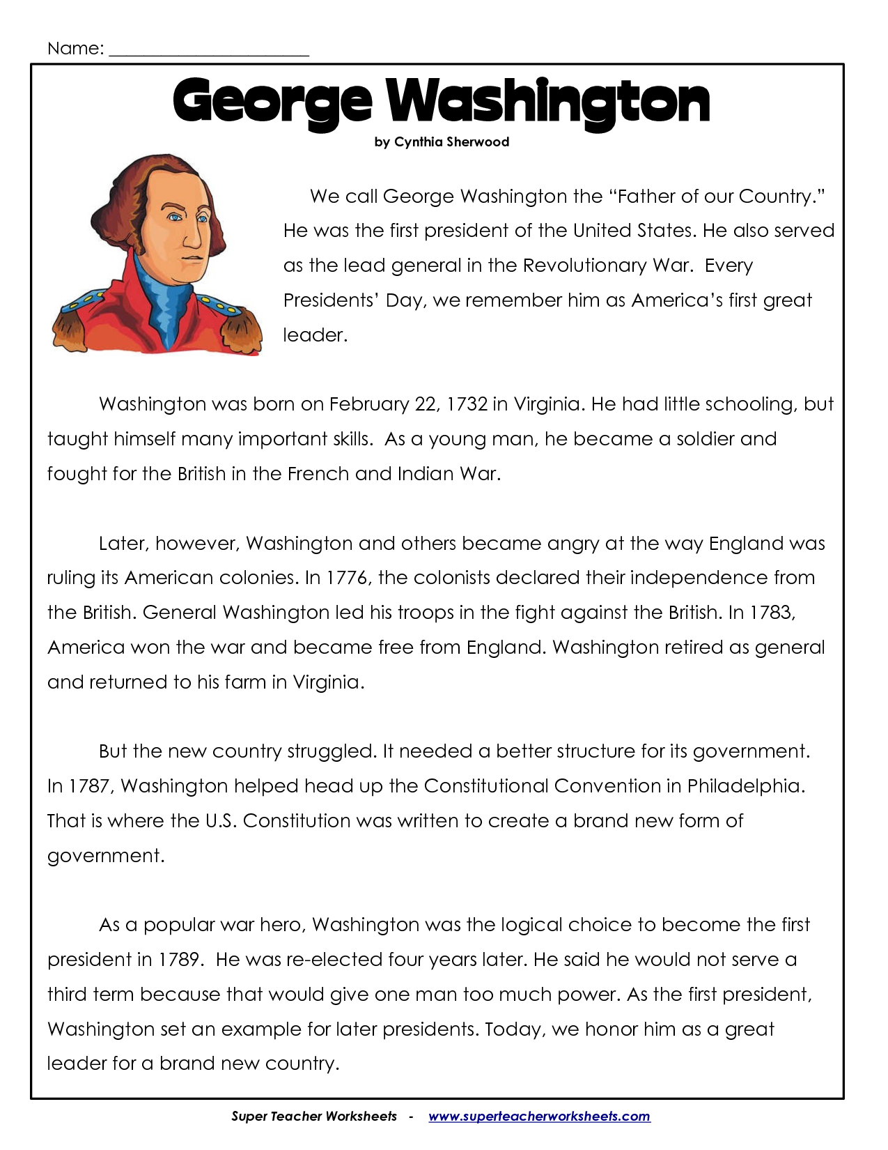 President's Day Coloring Worksheet | George Washington Worksheets | Free Printable George Washington Worksheets