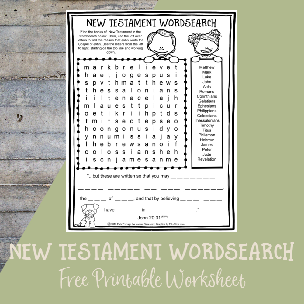 Printable Bible Activities Archives - Path Through The Narrow Gate | Free Printable Children's Bible Worksheets