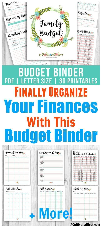 Printable Budget Binder- Floral   Money Saving Challenges   Printable Budget Binder Worksheets