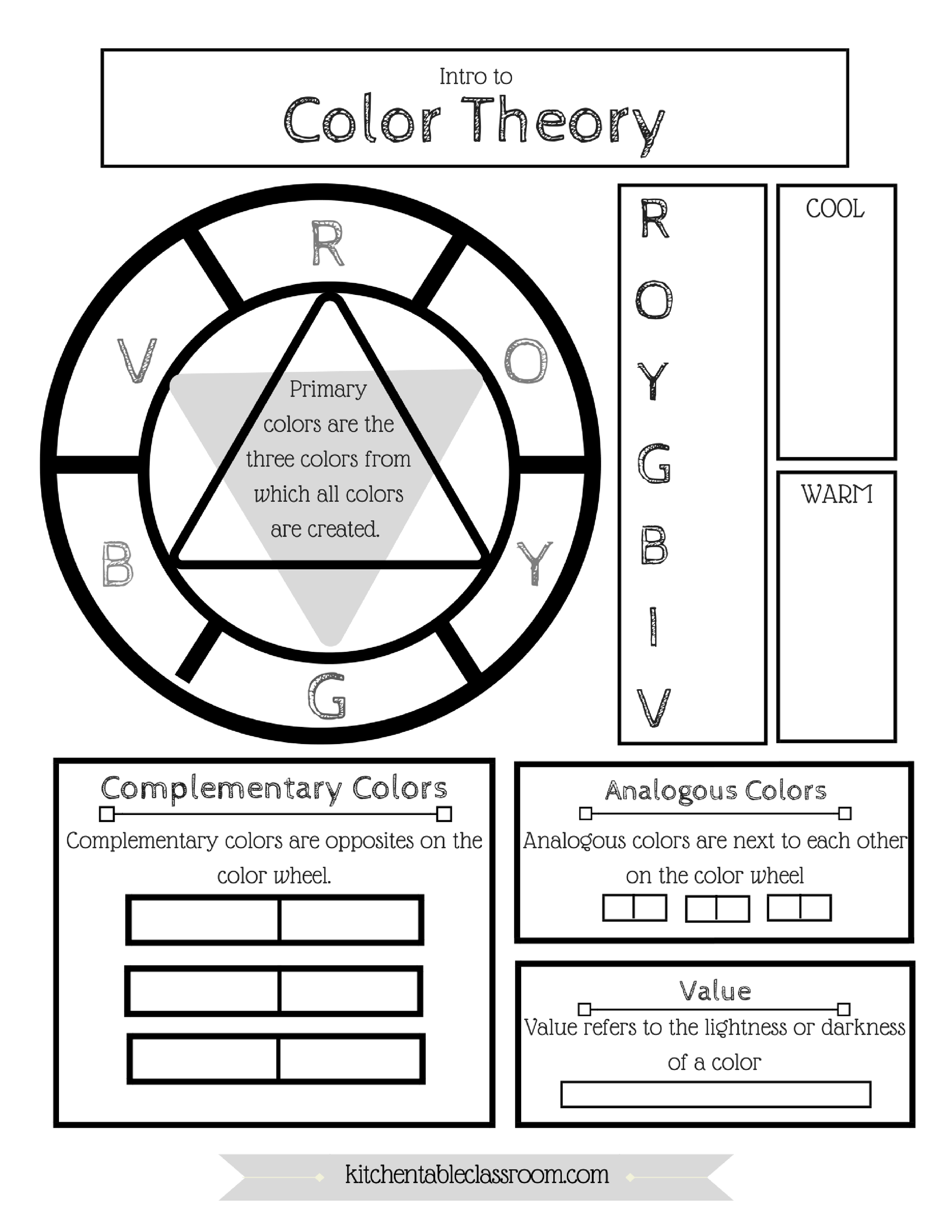 Printable Color Wheel - An Intro To Color Theory For Kids | The | Printable Color Wheel Worksheet