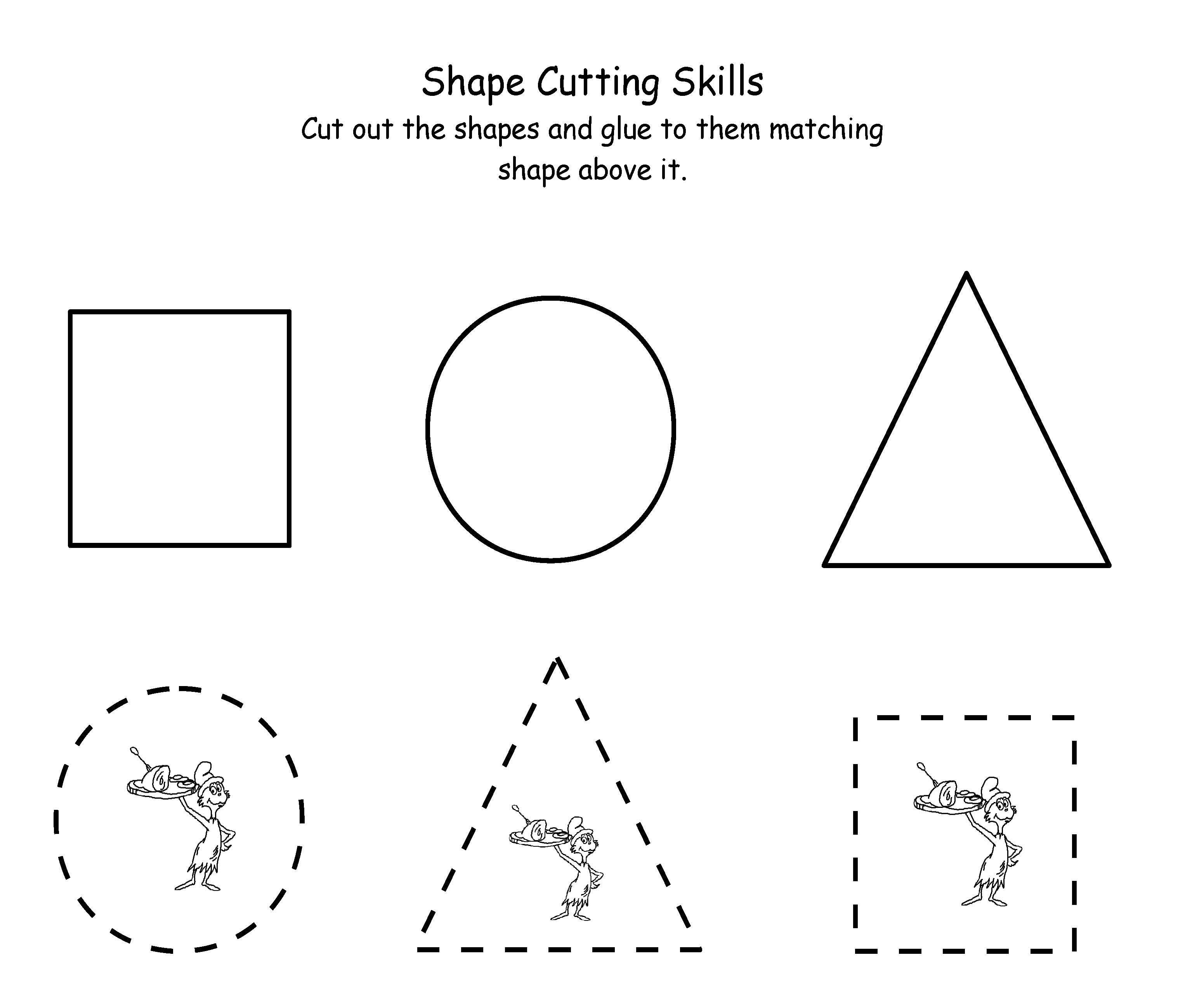 Printable Dr. Seuss Cutting | Maths | Dr Seuss Activities, Dr Seuss | Free Printable Cutting Worksheets For Kindergarten