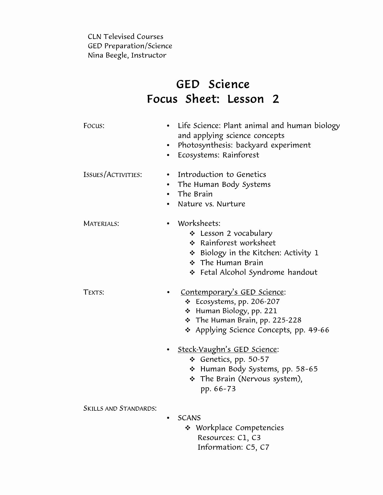 Printable Ged Practice Worksheets Pdf - Happy Living - Free   Printable Ged Science Practice Worksheets