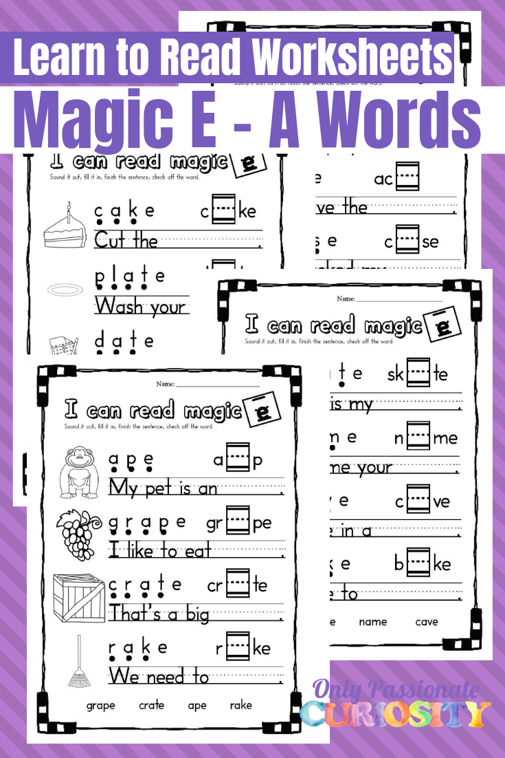 Printable Magic E - Long A Worksheets - Only Passionate Curiosity   Magic E Worksheets Free Printable