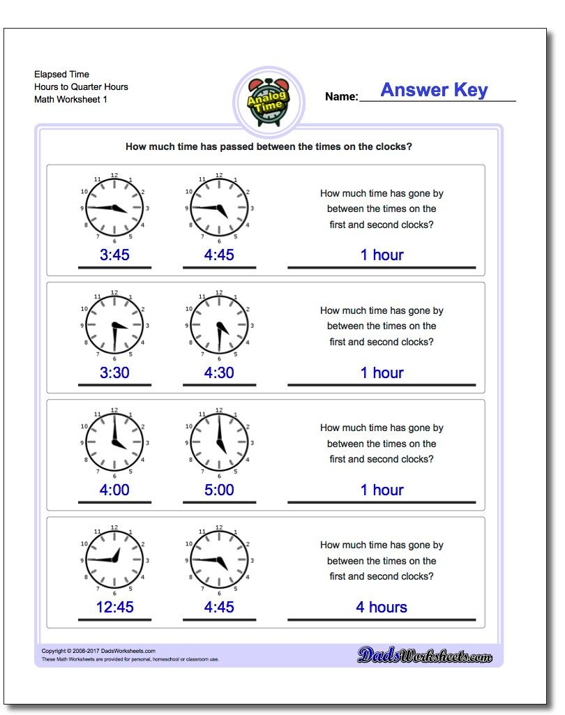 Printable Pdf Analog Elapsed Time Worksheets | Math Worksheets | Elapsed Time Worksheets Free Printable