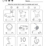 Printable Phonics Worksheet   Free Kindergarten English Worksheet | Phonics Worksheets For Adults Printable