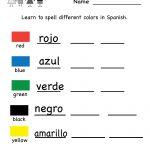 Printable Spanish Worksheet   Free Kindergarten Learning Worksheet | Teacher Websites Free Printable Worksheets