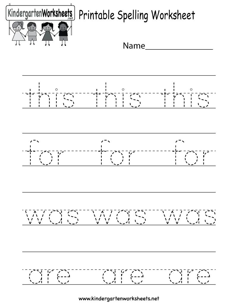 Printable Spelling Worksheet - Free Kindergarten English Worksheet | Free Printable Spelling Worksheets For Adults