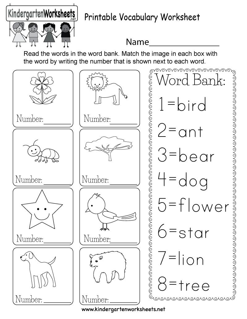 Printable Vocabulary Worksheet - Free Kindergarten English Worksheet | Free Printable Language Worksheets