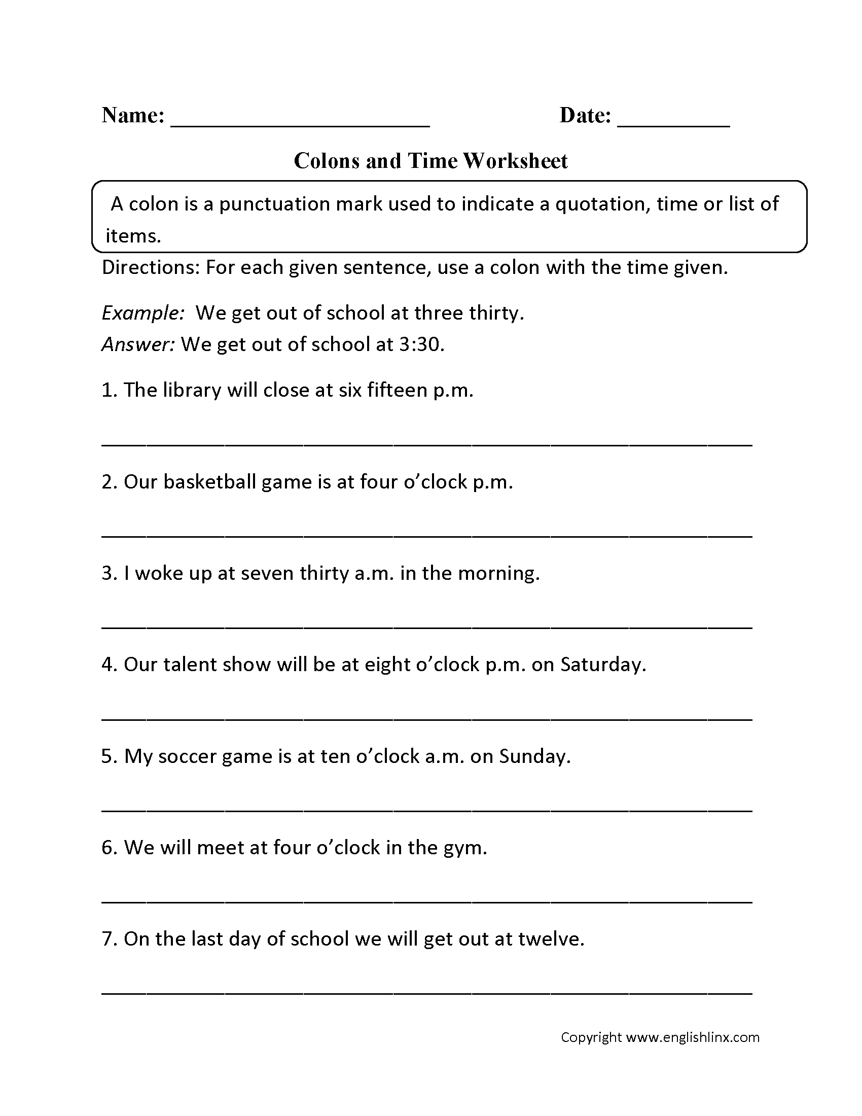 Punctuation Worksheets | Colon Worksheets | Free Printable Punctuation Worksheets For Grade 2