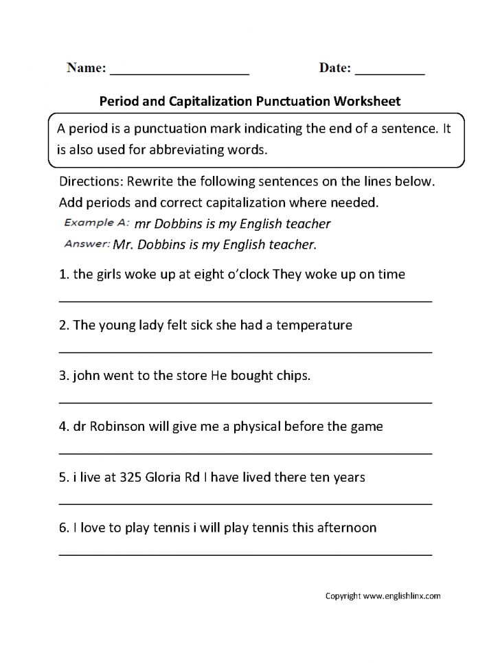 Free Printable Punctuation Worksheets For Grade 2