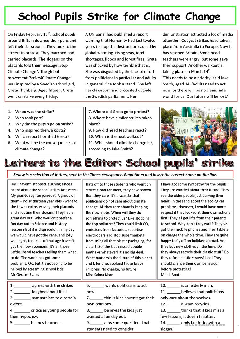 Pupils Strike For Action On Climate Change Worksheet - Free Esl | Climate Change Printable Worksheets