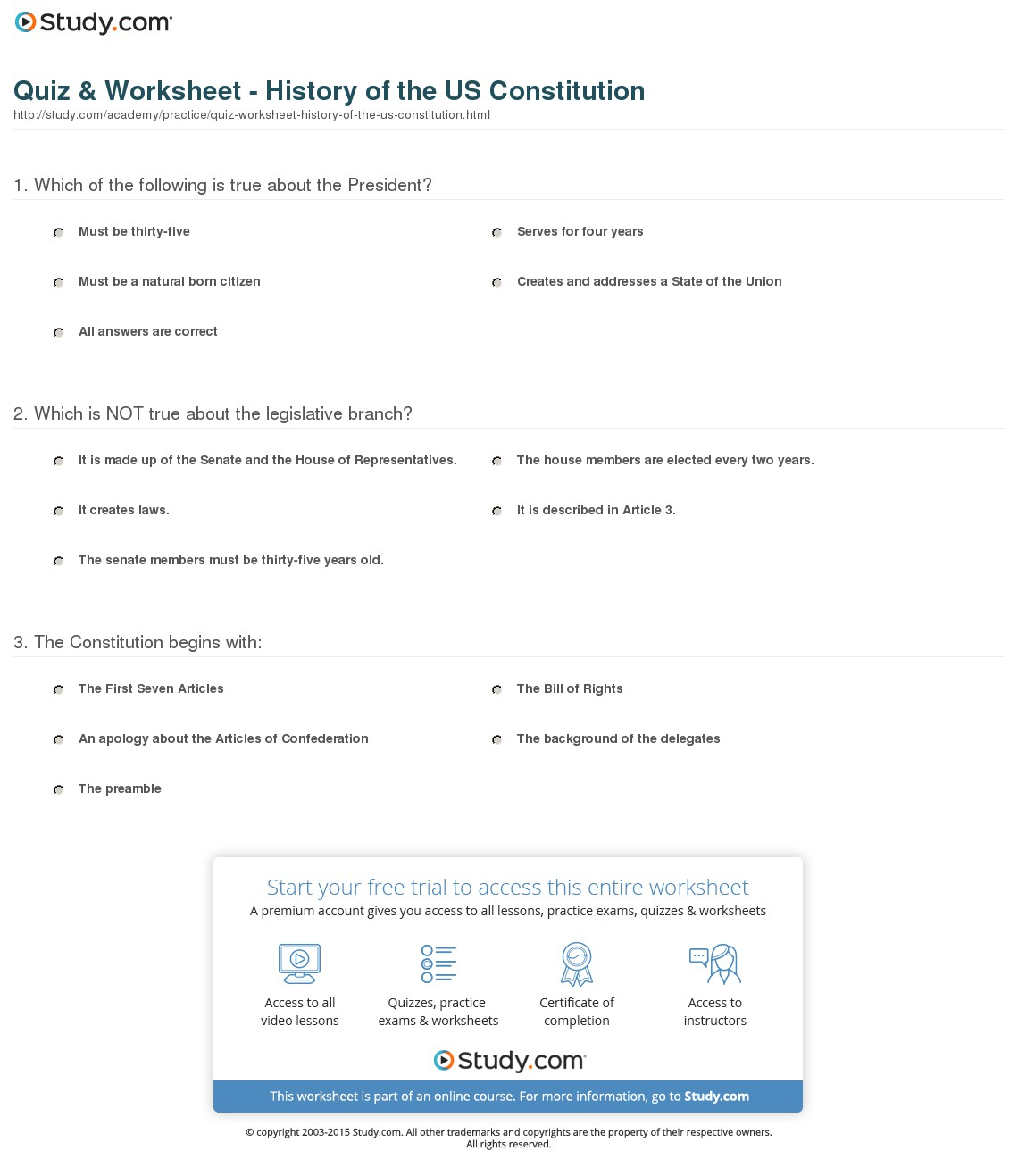 Quiz & Worksheet - History Of The Us Constitution | Study | Constitution Printable Worksheets