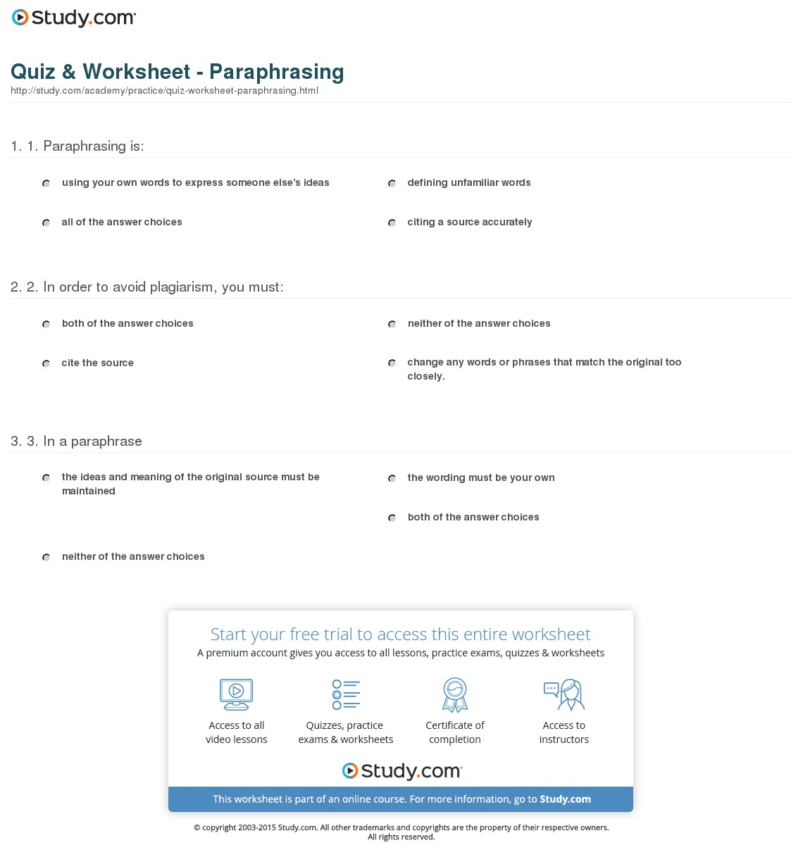 Quiz & Worksheet - Paraphrasing | Study | Printable Paraphrase Practice Worksheet