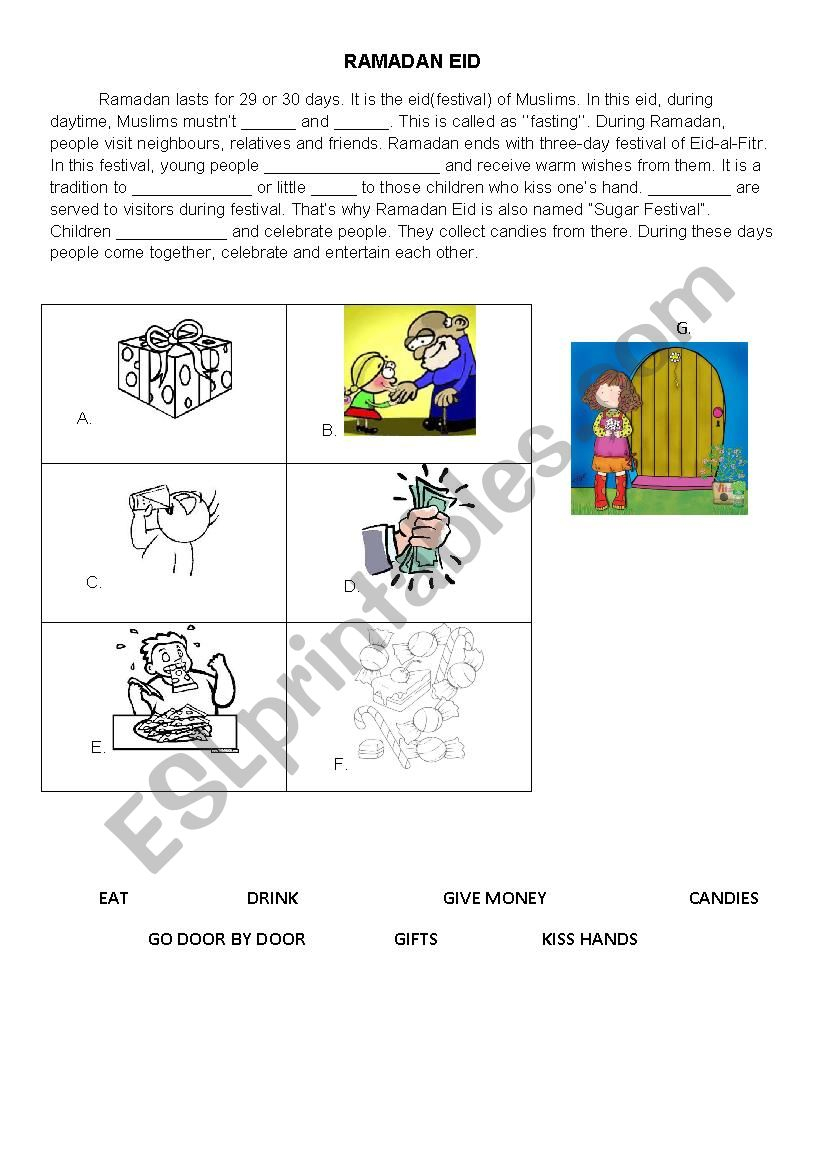 Ramadan Eid - Esl Worksheetbrkbst | Ramadan Worksheets Printables