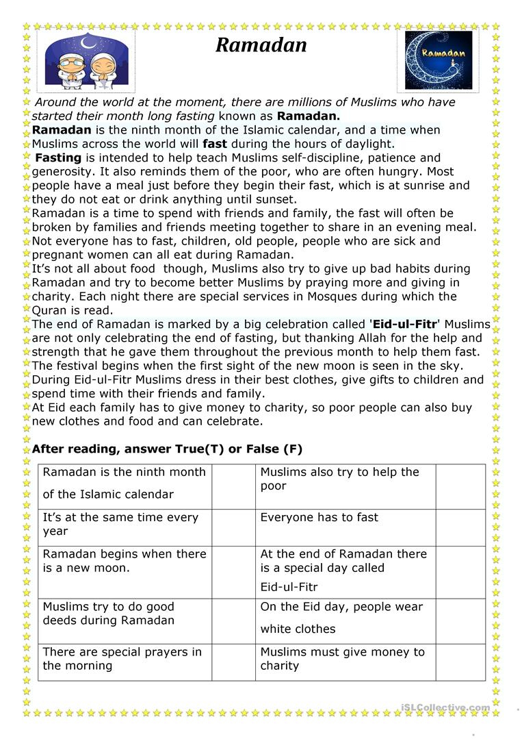 Ramadan Worksheet - Free Esl Printable Worksheets Madeteachers | Ramadan Worksheets Printables