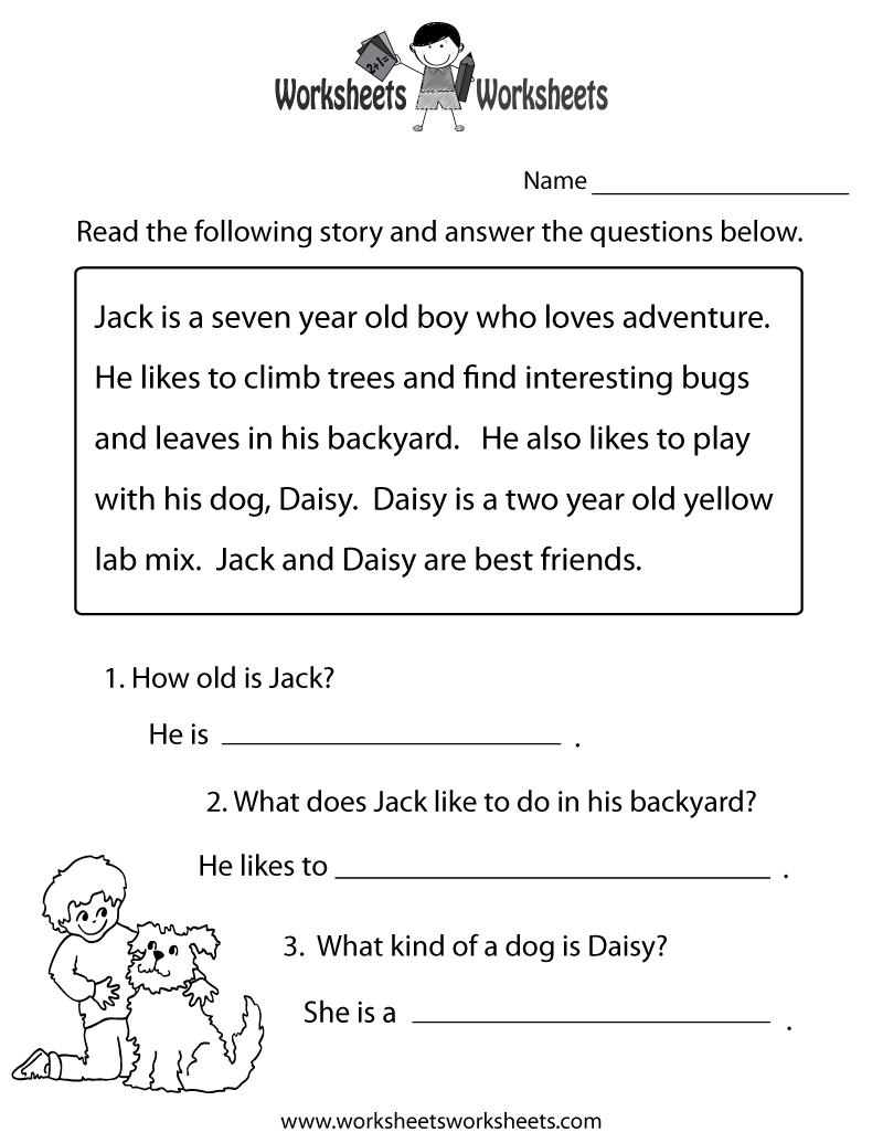 Reading Comprehension Practice Worksheet Printable | Language | Free | Printable Comprehension Worksheets For Grade 6