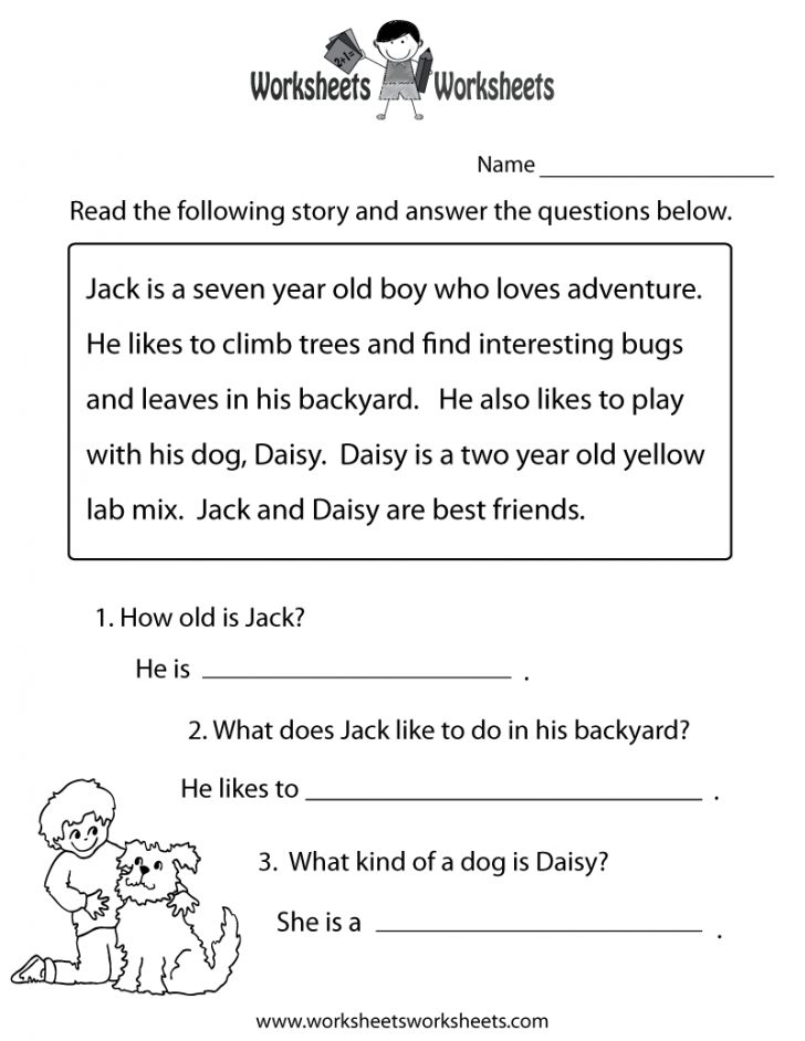 Printable Reading Worksheets For 1St Grade