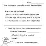 Reading Comprehension Test Worksheet Printable | Reading | Free | Free Printable Grade 1 Reading Comprehension Worksheets