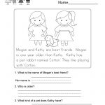 Reading Comprehension Worksheet   Free Kindergarten English | Free Printable Reading Comprehension Worksheets For Adults