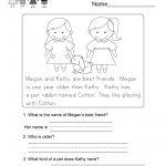 Reading Comprehension Worksheet   Free Kindergarten English | Kindergarten Ela Printable Worksheets