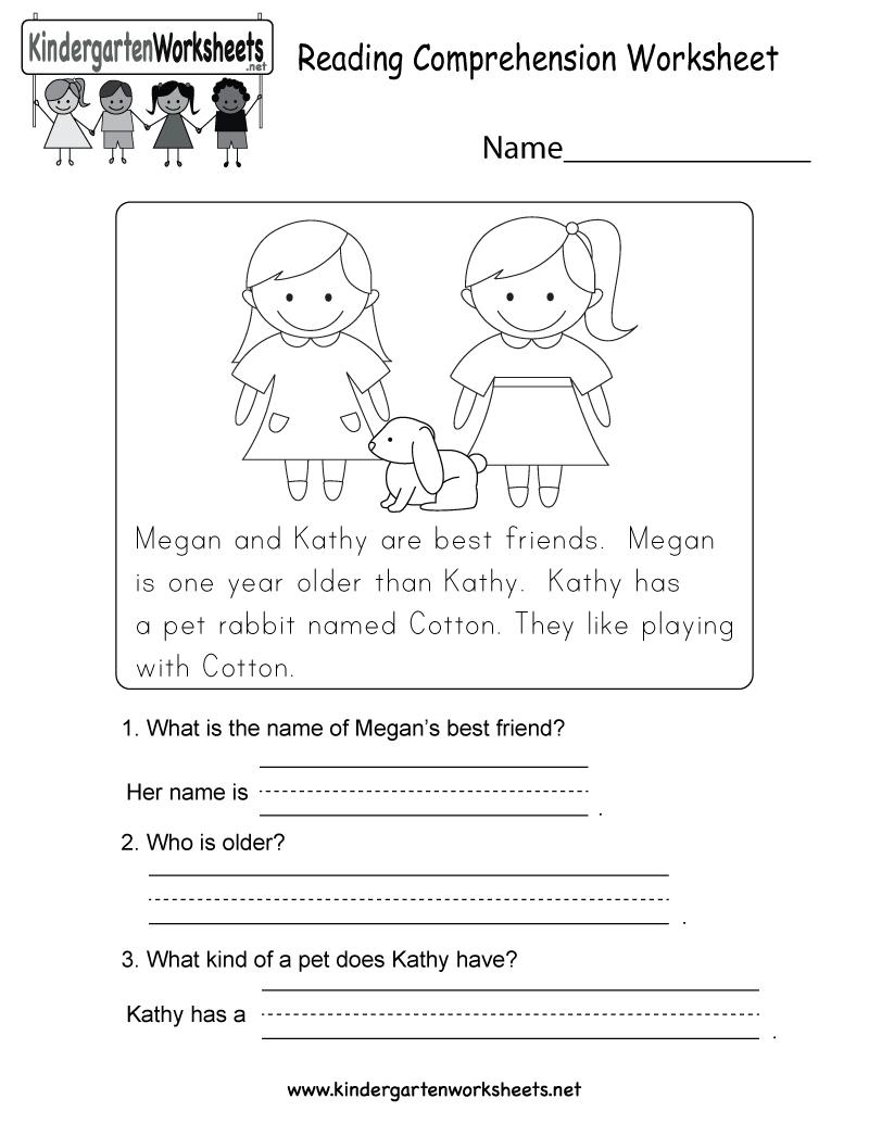 Reading Comprehension Worksheet - Free Kindergarten English | Kindergarten Ela Printable Worksheets