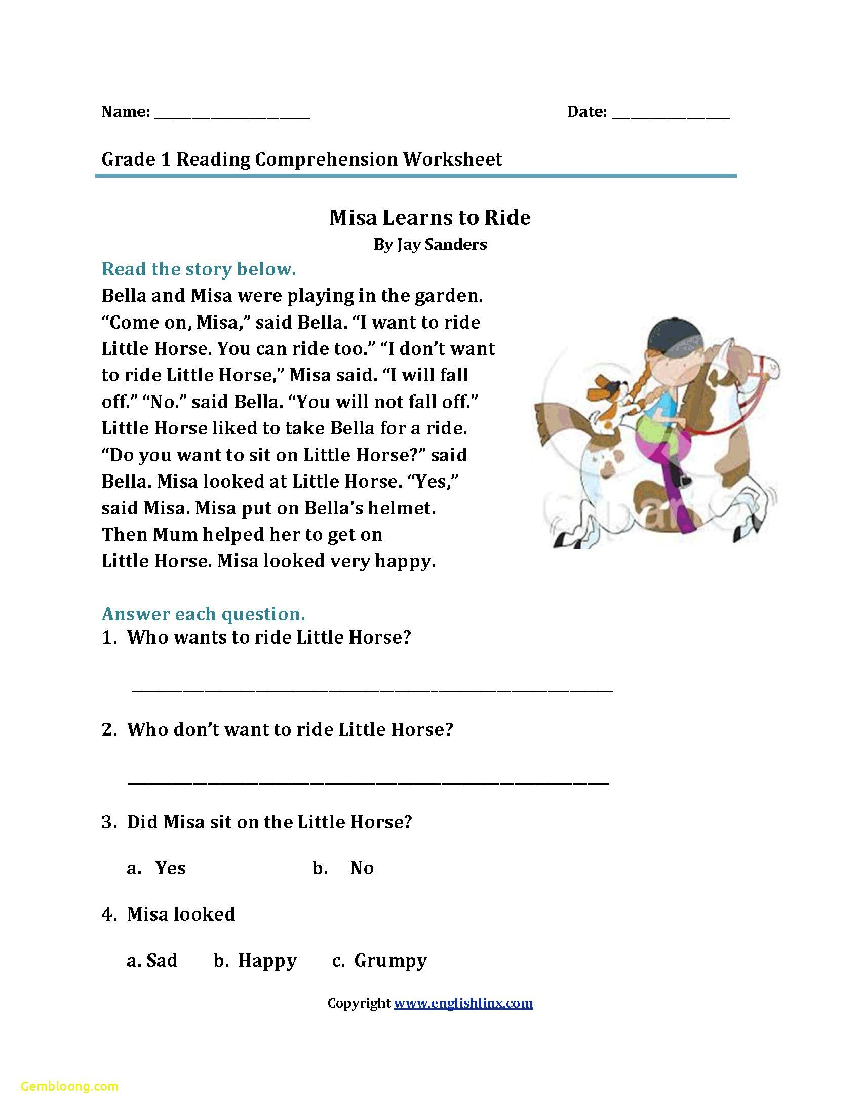 Reading Comprehension Worksheets For 1St Grade - Cramerforcongress | Free Printable Reading Comprehension Worksheets