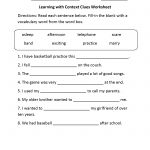 Reading Worksheets | Context Clues Worksheets | Context Clues Printable Worksheets 6Th Grade